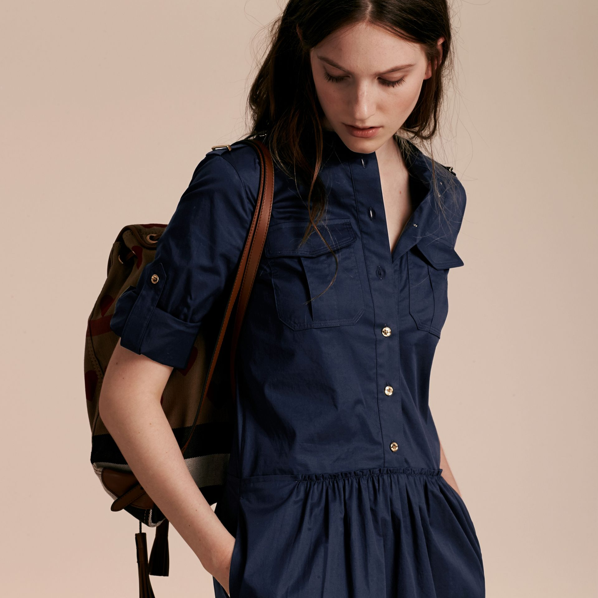 Dark pewter blue Military-inspired Cotton Blend Shirt Dress Dark Pewter Blue - gallery image 7