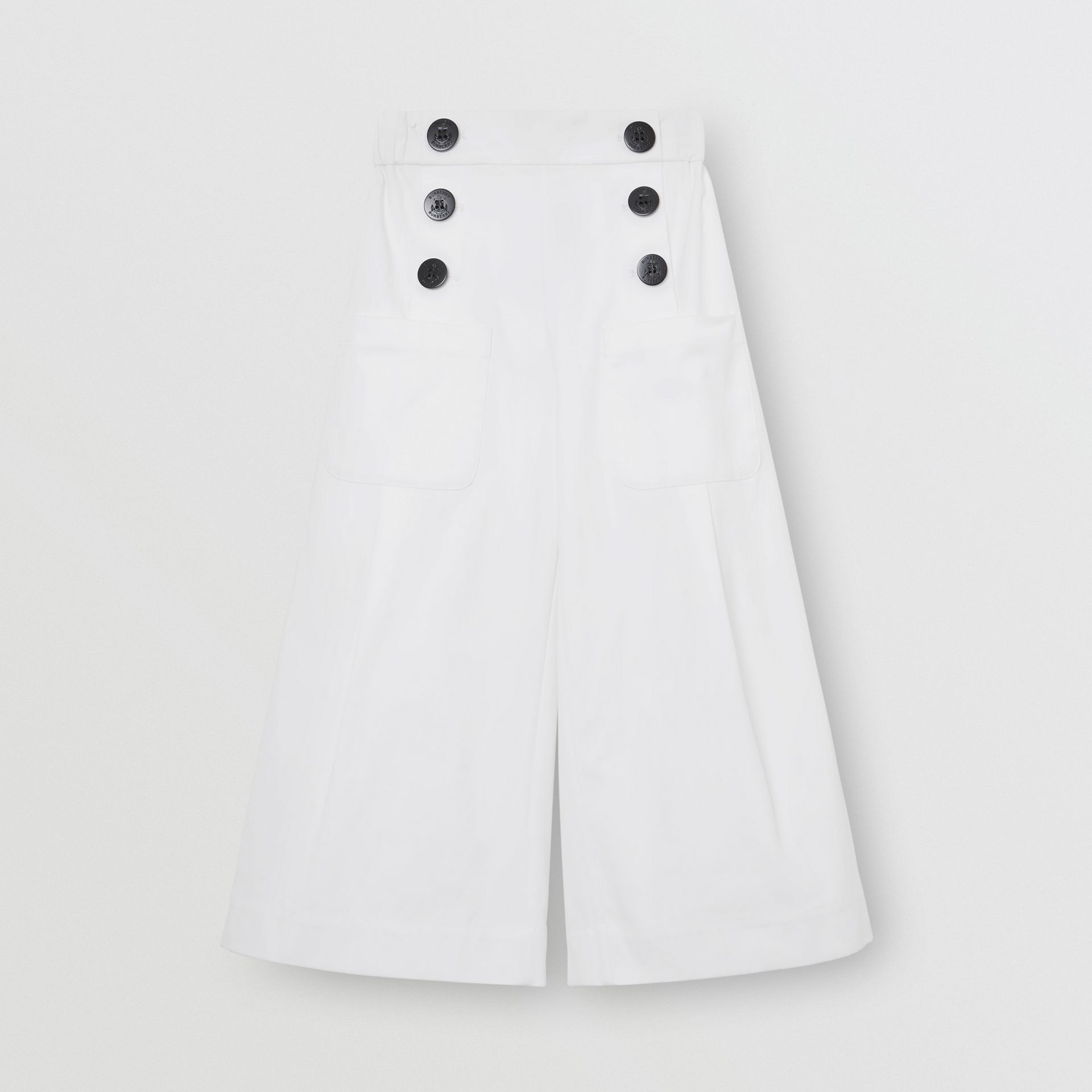 Cotton Blend Sailor Trousers in White | Burberry Canada - gallery image 0