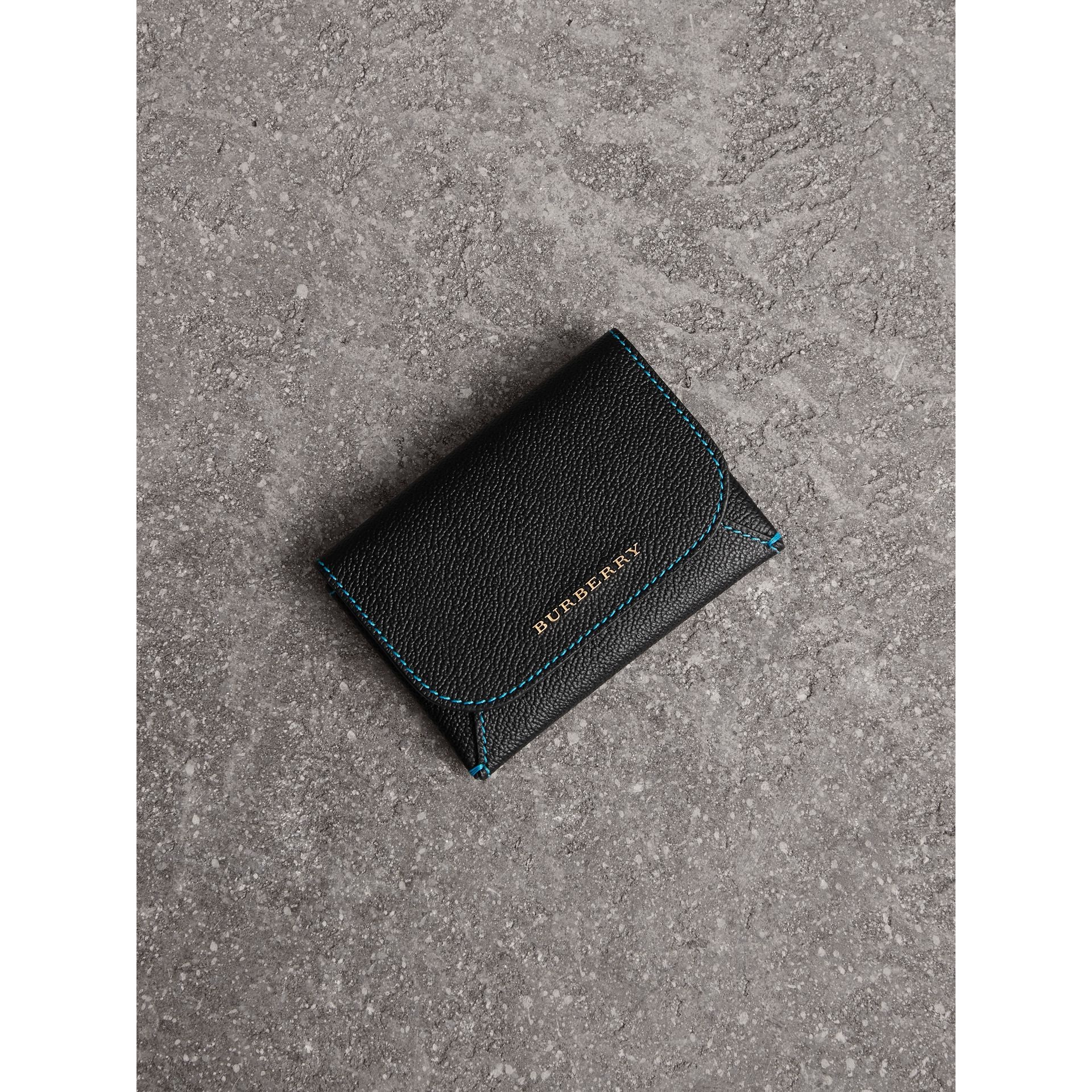 Leather Coin Case with Removable Card Compartment in Black/multicolour - Women | Burberry Singapore - gallery image 1