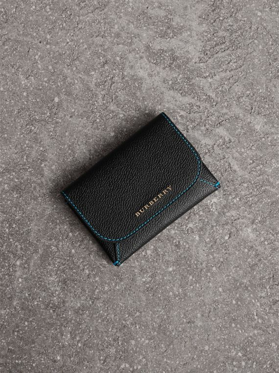 Leather Coin Case with Removable Card Compartment in Black/multicolour