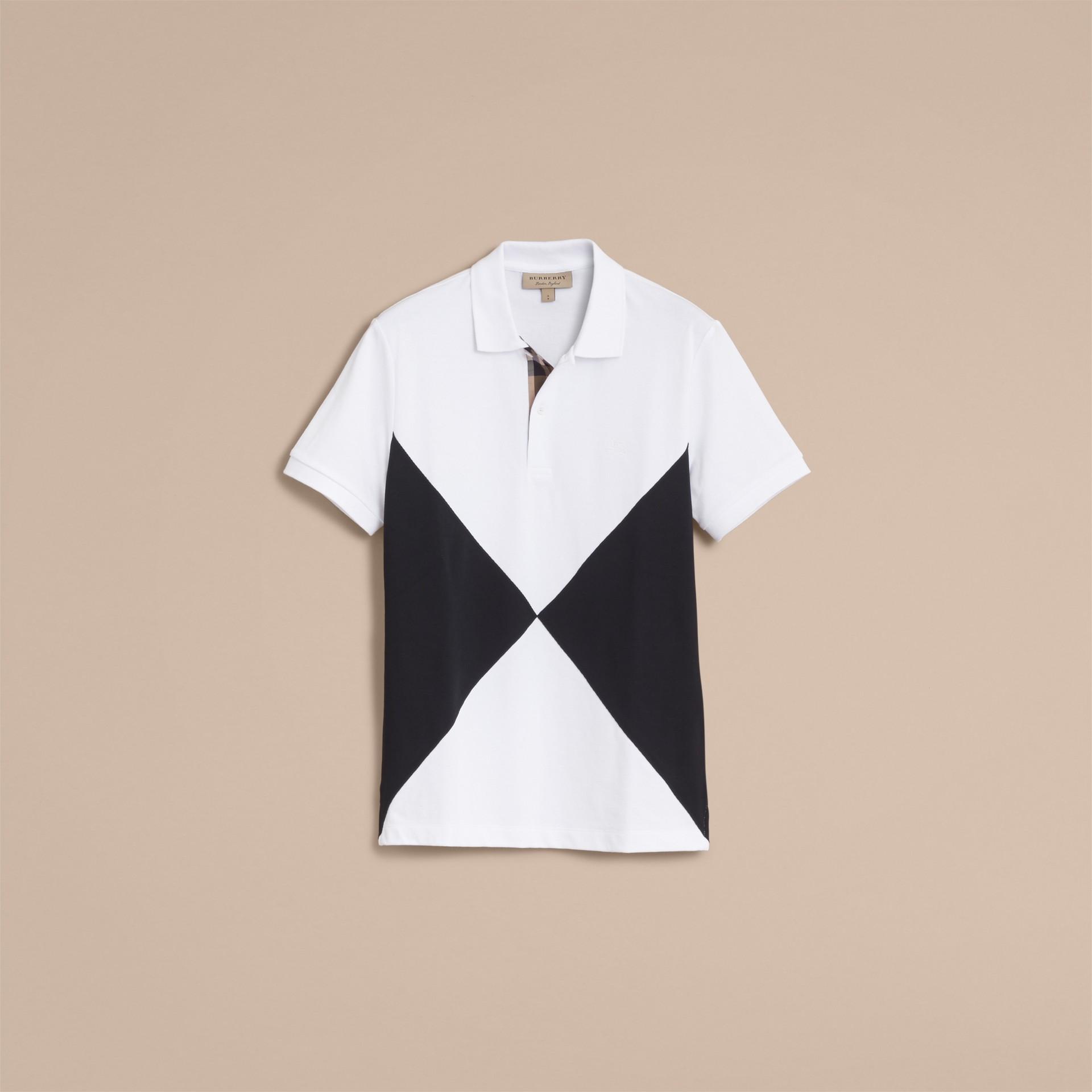 Geometric Motif Cotton Piqué Polo Shirt with Check Placket White - gallery image 4
