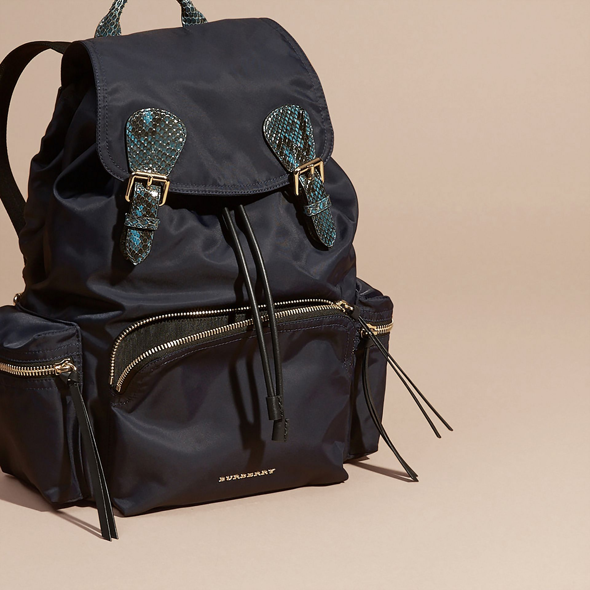 The Large Rucksack in Technical Nylon and Snakeskin in Ink Blue/mineral Blue - gallery image 6