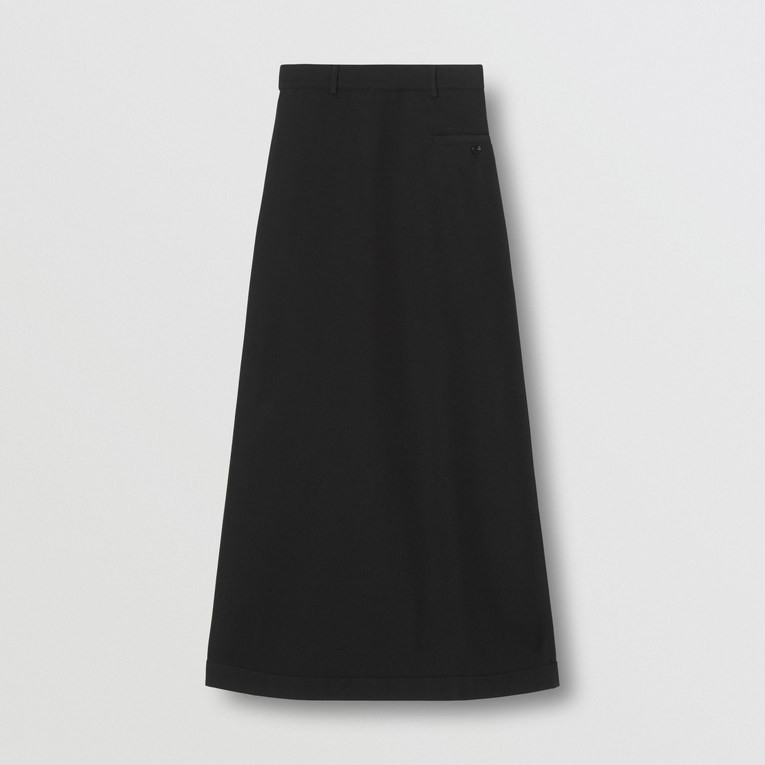 Skirt Panel Wool Wide-leg Trousers in Black - Women | Burberry - 4