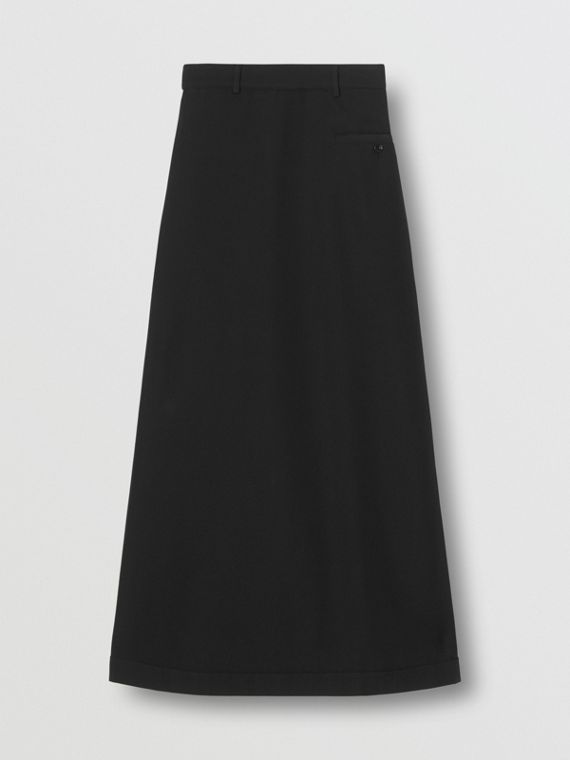 Skirt Panel Wool Wide-leg Trousers in Black