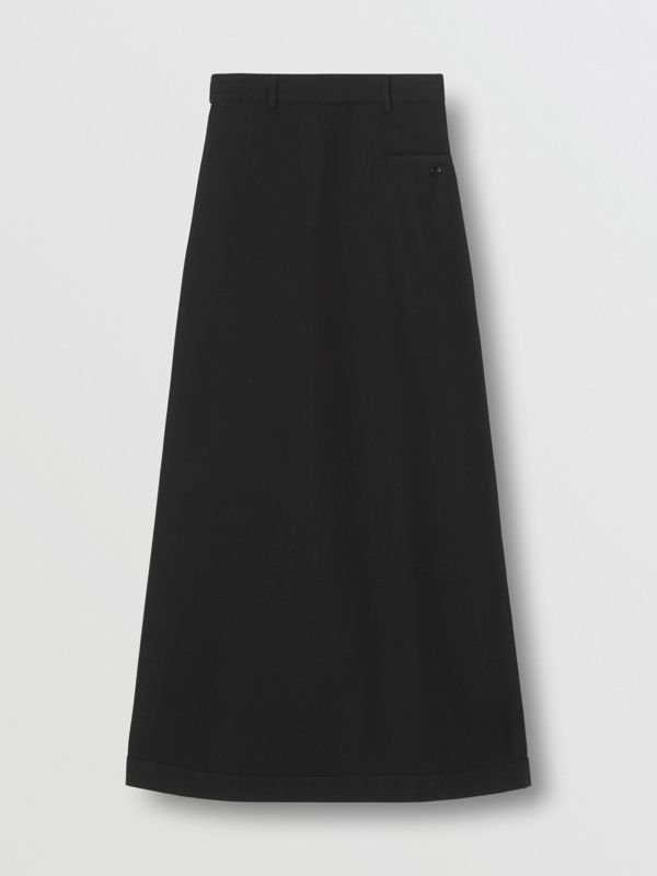 Skirt Panel Wool Wide-leg Trousers in Black - Women | Burberry - cell image 3