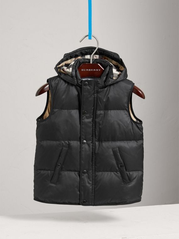 Down-filled Hooded Gilet in Black - Boy | Burberry - cell image 2