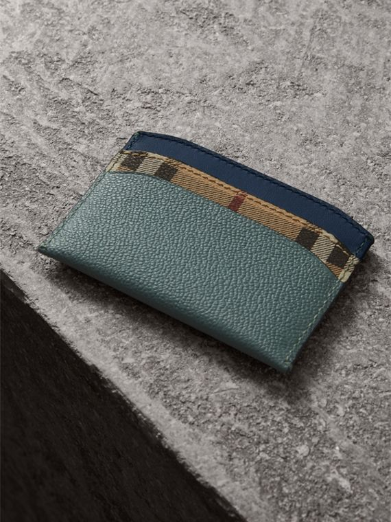 Colour Block Leather and Haymarket Check Card Case in Eucalyptus Grn/multi - Women | Burberry - cell image 2