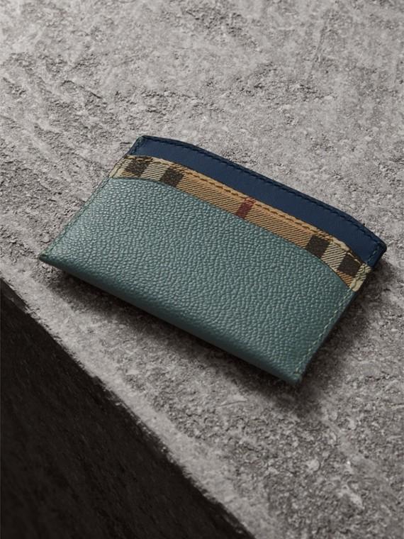 Porta-cartões de couro e Haymarket Check com estampa colour block (Verde Eucalipto/multicolorido) - Mulheres | Burberry - cell image 2