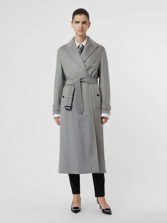 Peak Lapel Cashmere Wrap Coat in Pale Grey Melange