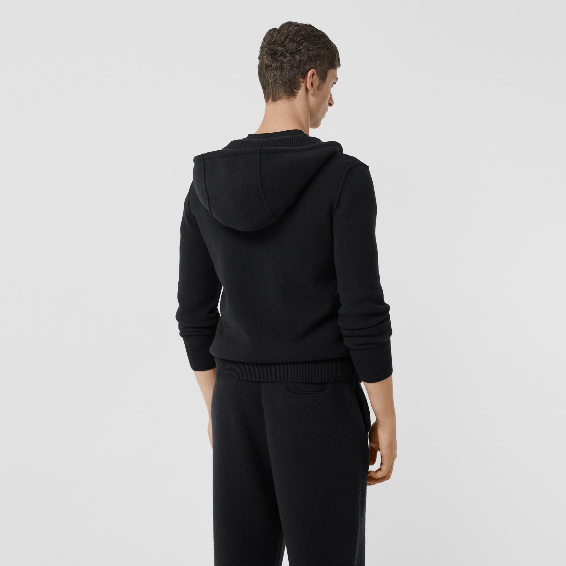Haut à capuche en cachemire mélangé Monogram (Noir) - Homme | Burberry - photo de la galerie 2