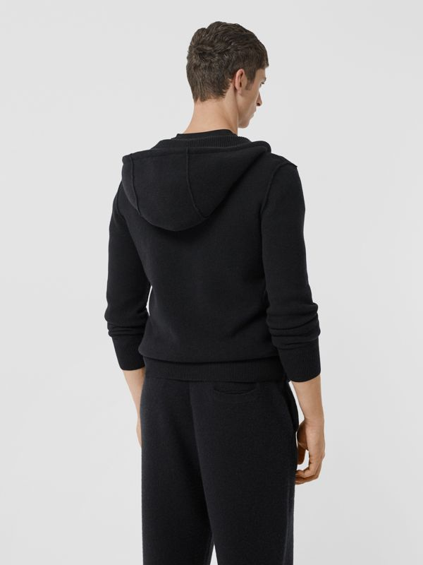 Haut à capuche en cachemire mélangé Monogram (Noir) - Homme | Burberry - cell image 2