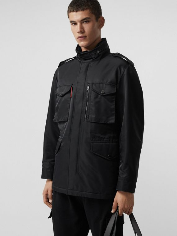Packaway Hood Padded Field Jacket in Black