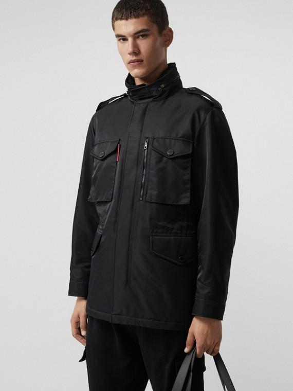 Утепленная полевая куртка со складным капюшоном (Черный)