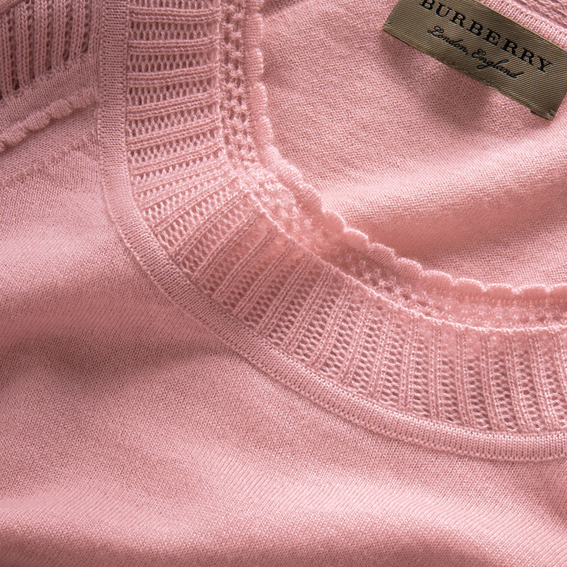 Open-knit Detail Cashmere Crew Neck Sweater in Apricot Pink - Women | Burberry - gallery image 2