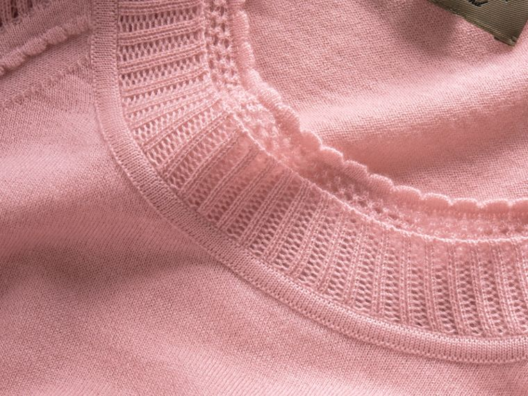 Open-knit Detail Cashmere Crew Neck Sweater in Apricot Pink - Women | Burberry - cell image 1