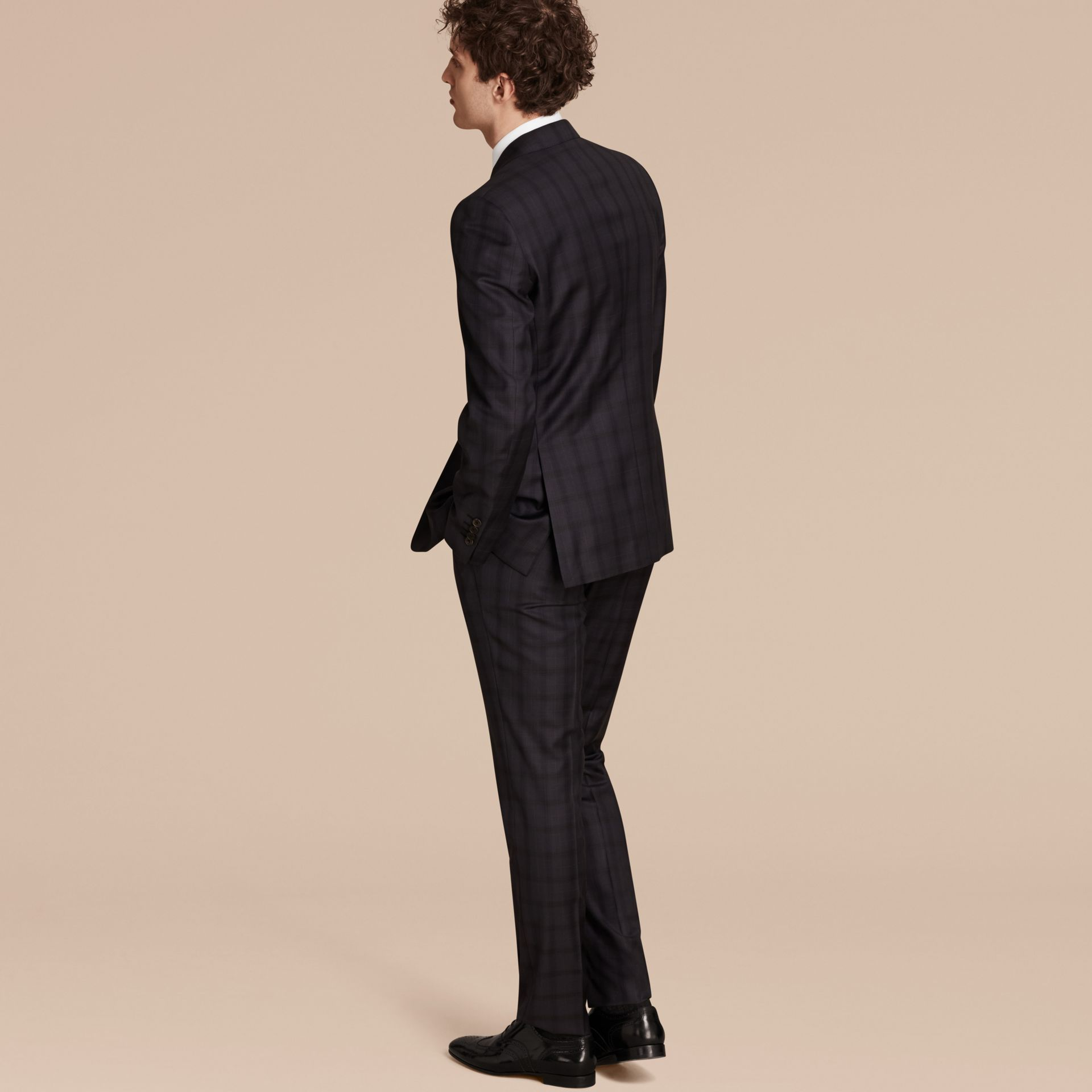 Navy Modern Fit Check Wool Part-canvas Suit - gallery image 3