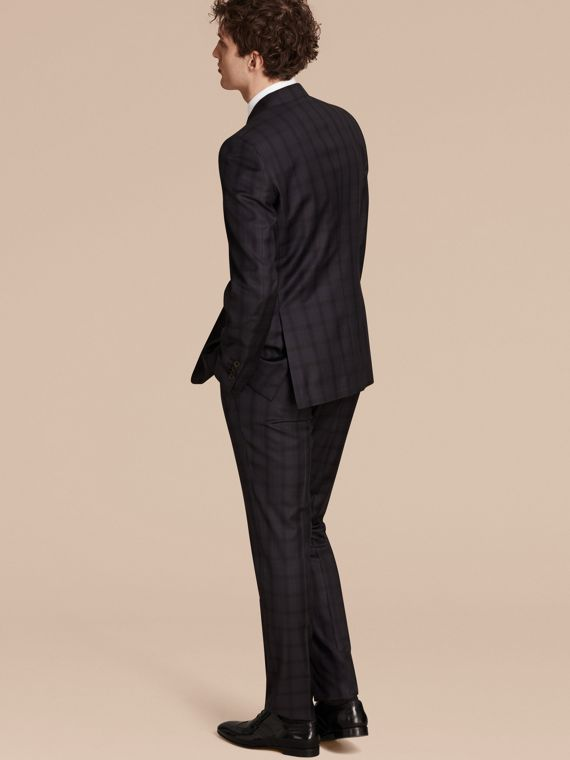 Navy Modern Fit Check Wool Part-canvas Suit - cell image 2