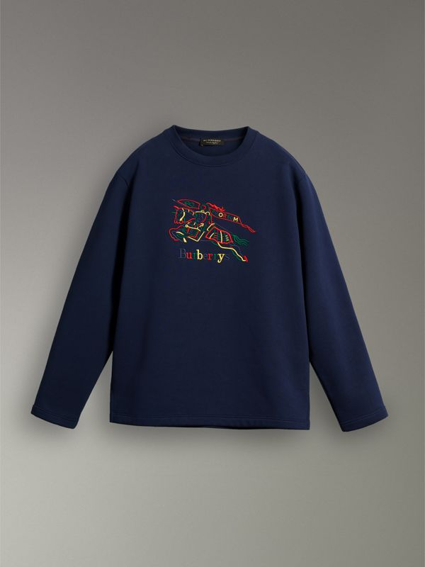 Reissued Jersey Sweatshirt in Dark Blue - Women | Burberry United Kingdom - cell image 3