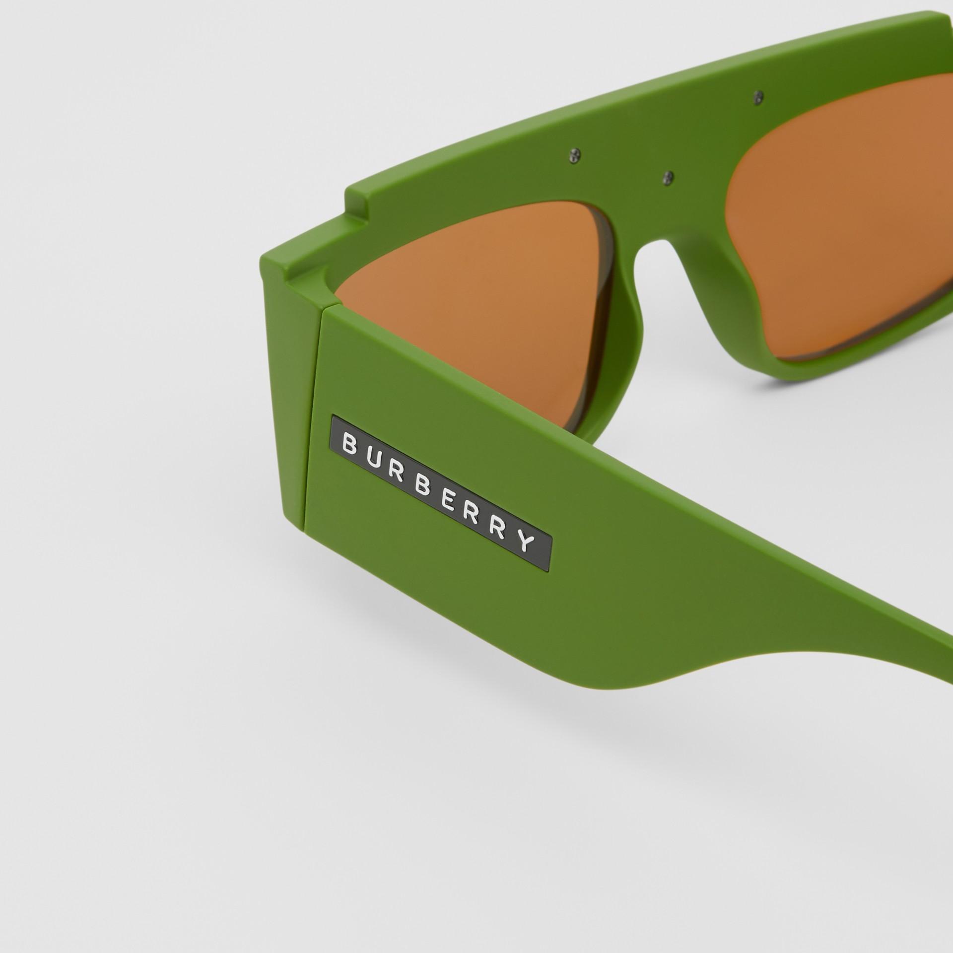 Rectangular Frame Sunglasses in Green - Women | Burberry - gallery image 1