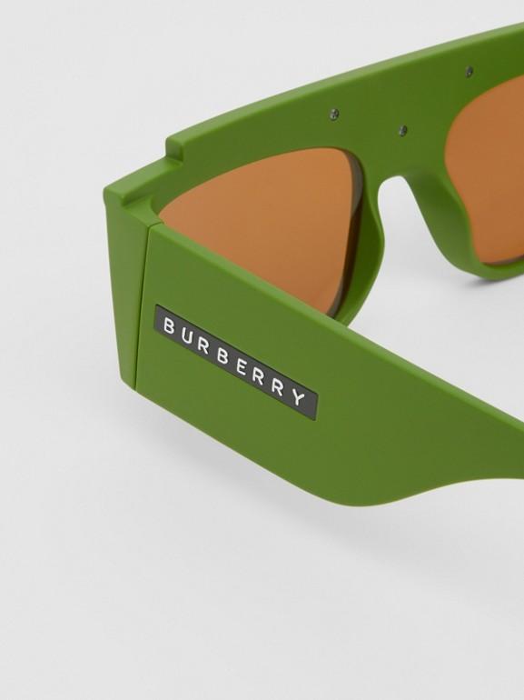 Rectangular Frame Sunglasses in Green - Women | Burberry - cell image 1