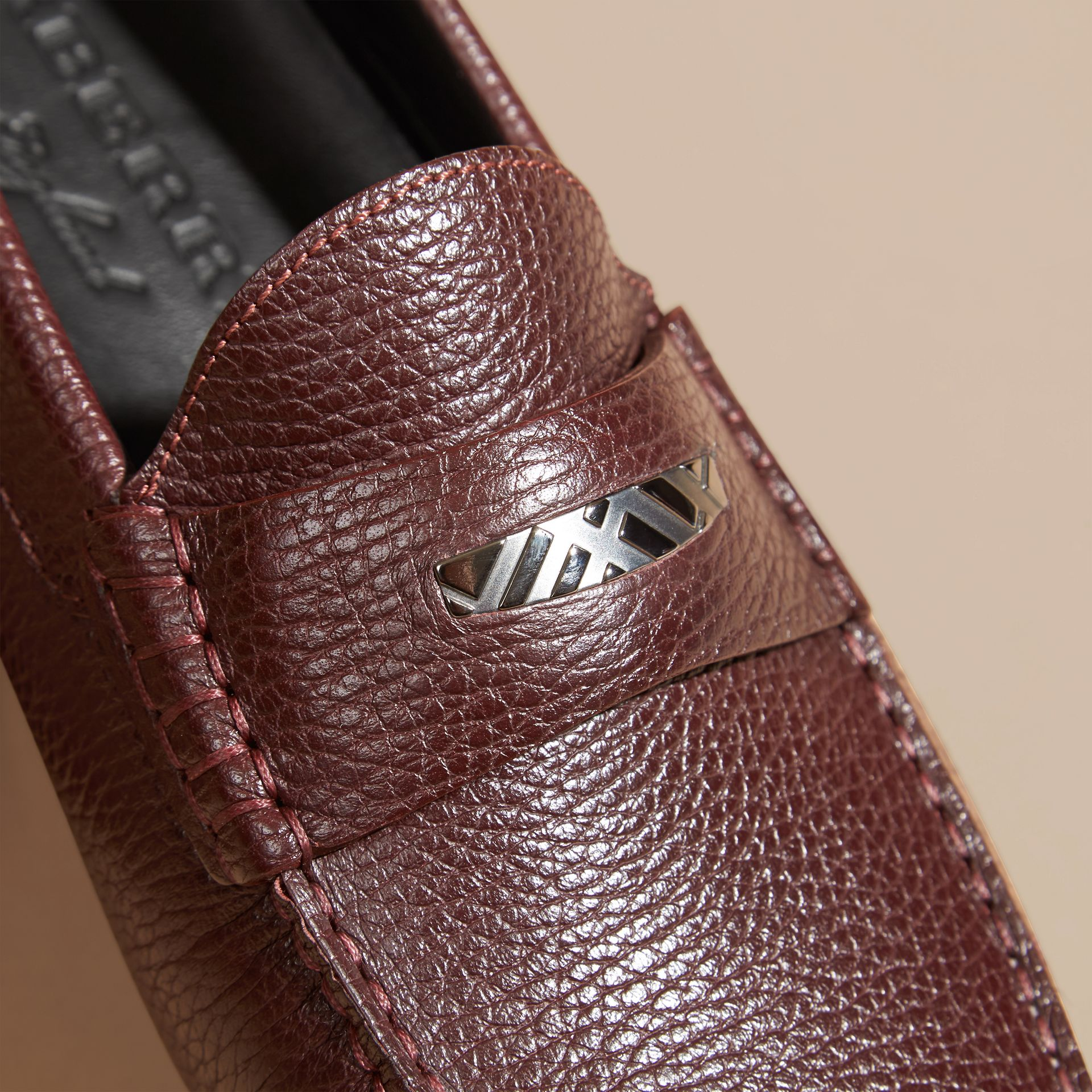 Bordeaux Grainy Leather Loafers with Engraved Check Detail Bordeaux - gallery image 2
