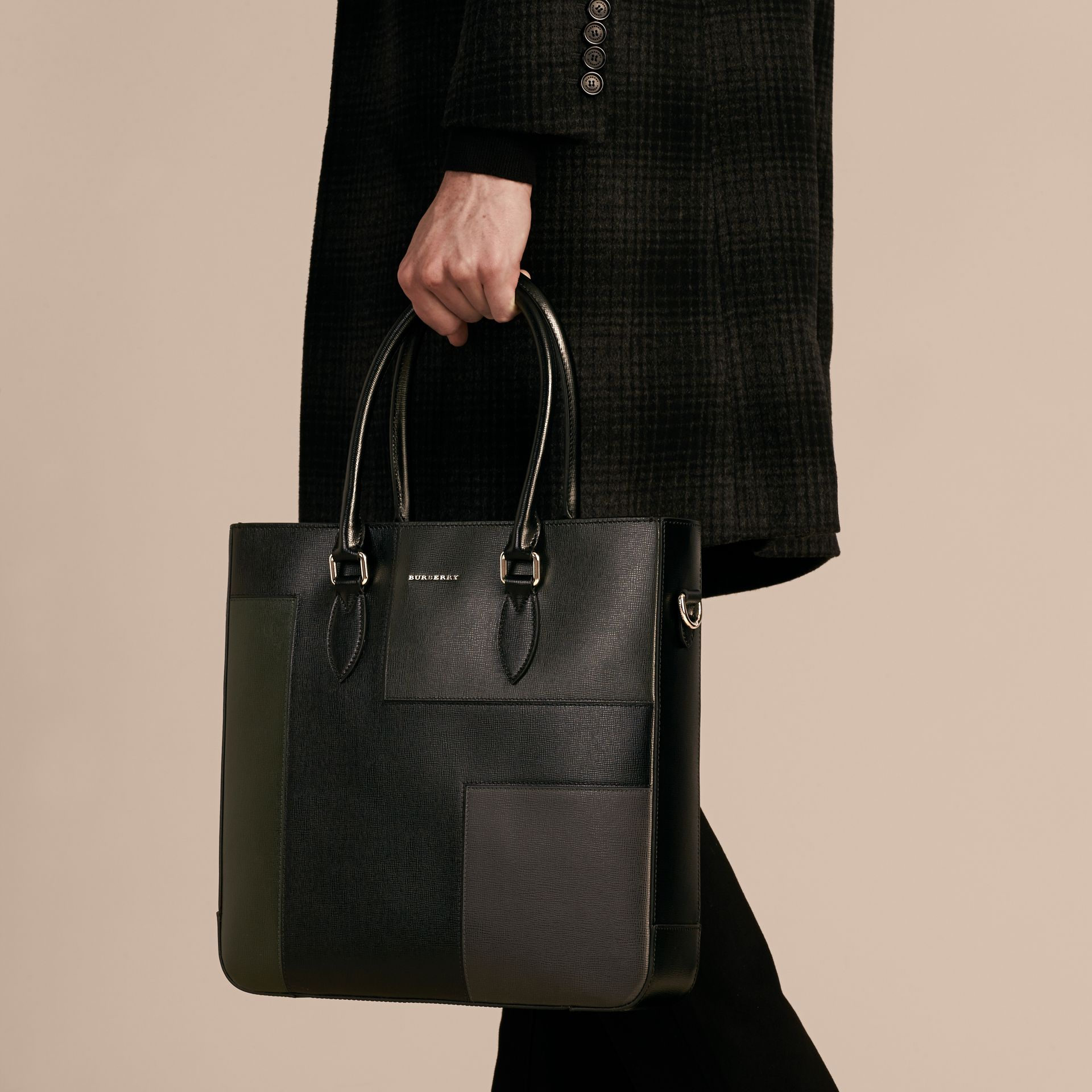 Black Patchwork London Leather Tote Bag - gallery image 3