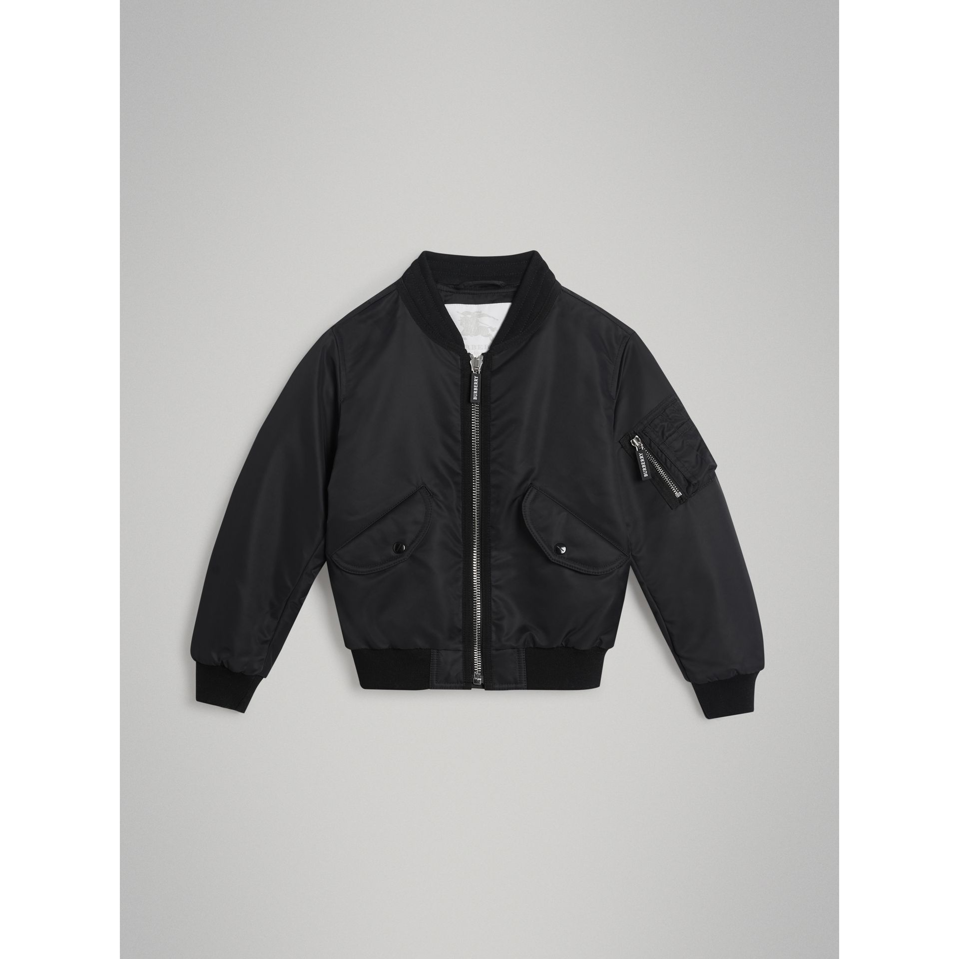 Lightweight Nylon Bomber Jacket in Black | Burberry - gallery image 0
