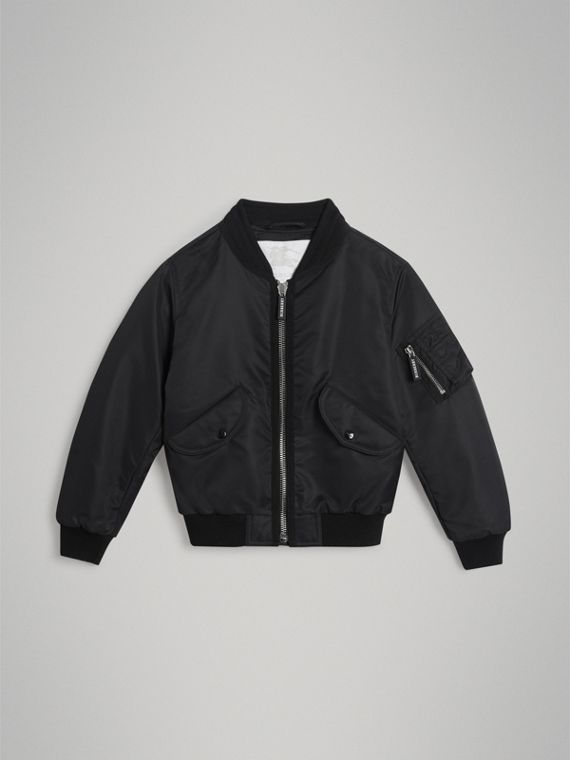 Lightweight Nylon Bomber Jacket in Black
