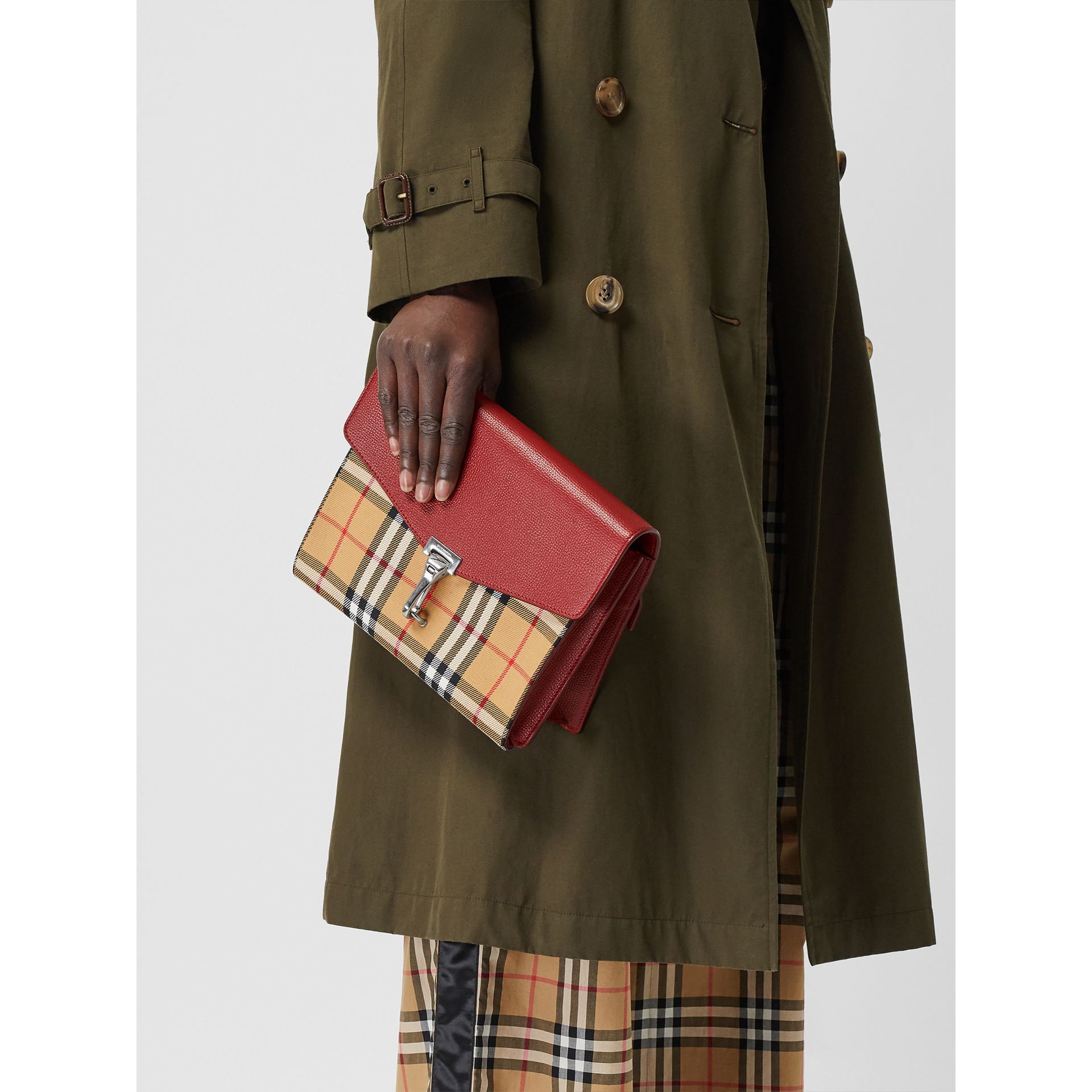 Small Vintage Check and Leather Crossbody Bag in Crimson - Women | Burberry Australia - gallery image 5
