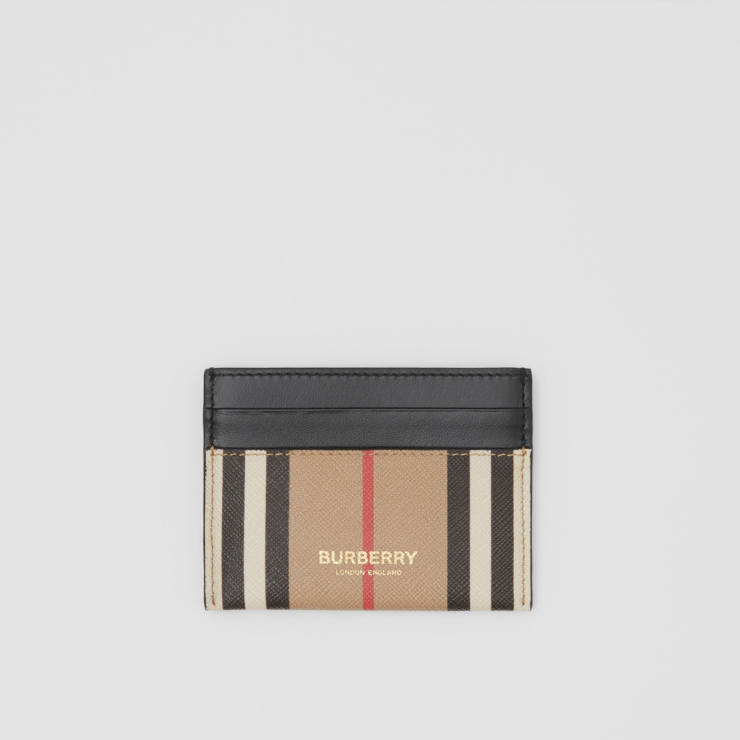 Icon Stripe E-canvas and Leather Card Case in Archive Beige | Burberry - 1
