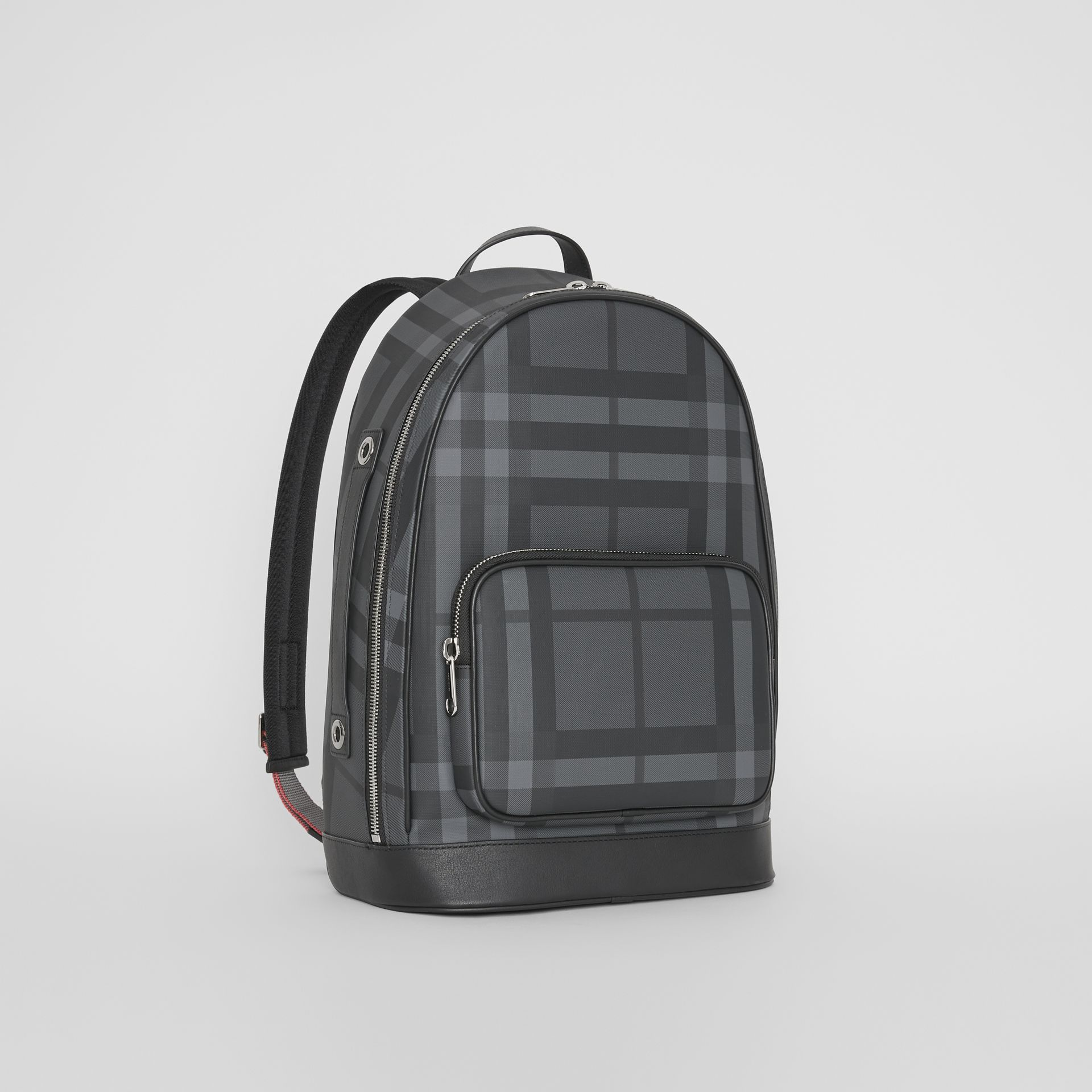 London Check and Leather Backpack in Charcoal/black - Men | Burberry United Kingdom - gallery image 6