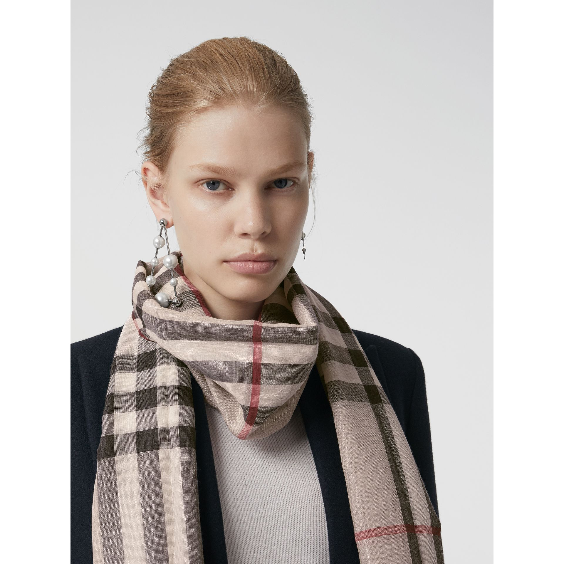 Metallic Check Silk and Wool Scarf in Stone/ Silver | Burberry United Kingdom - gallery image 5