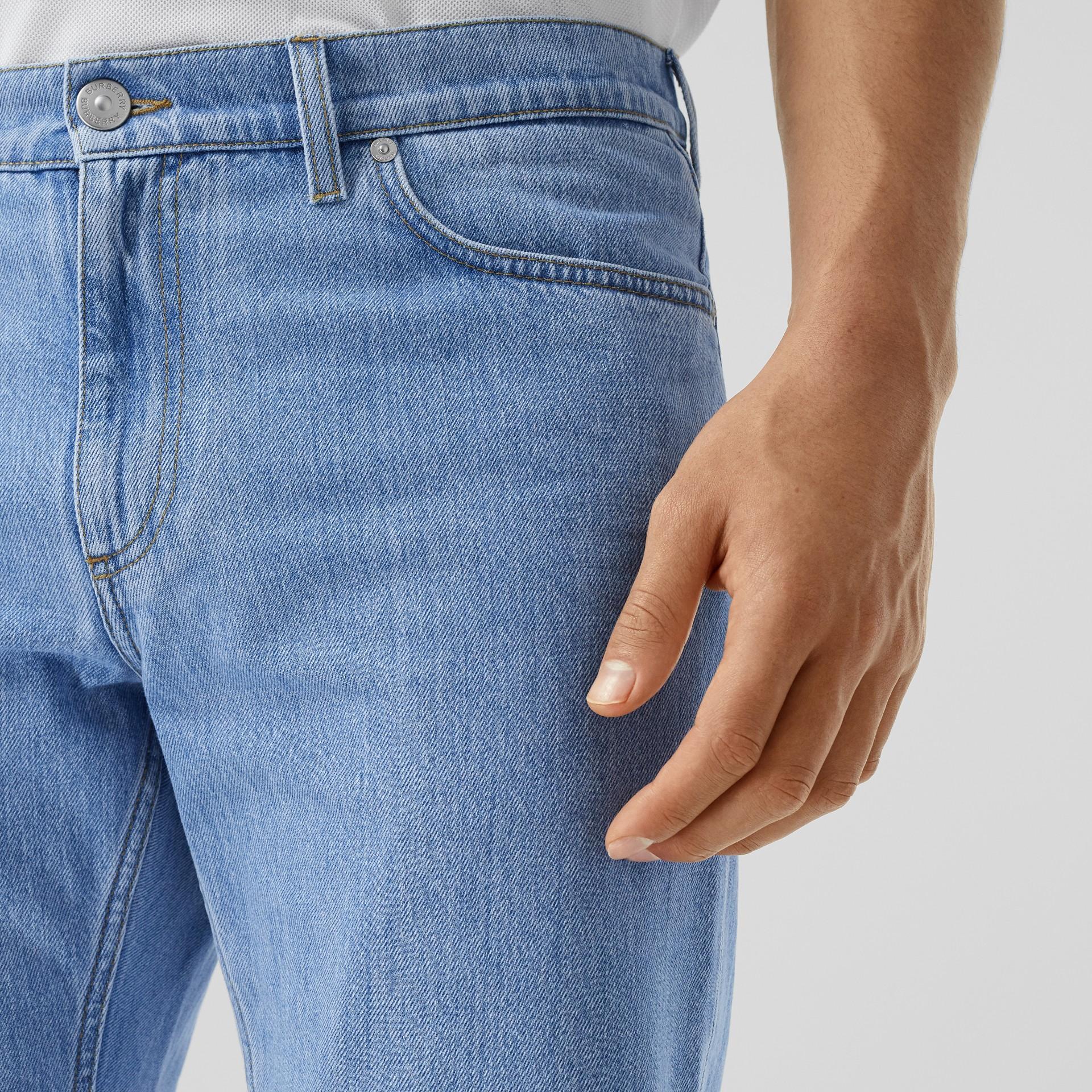 Straight Fit Japanese Denim Jeans in Light Indigo Blue - Men   Burberry - gallery image 1