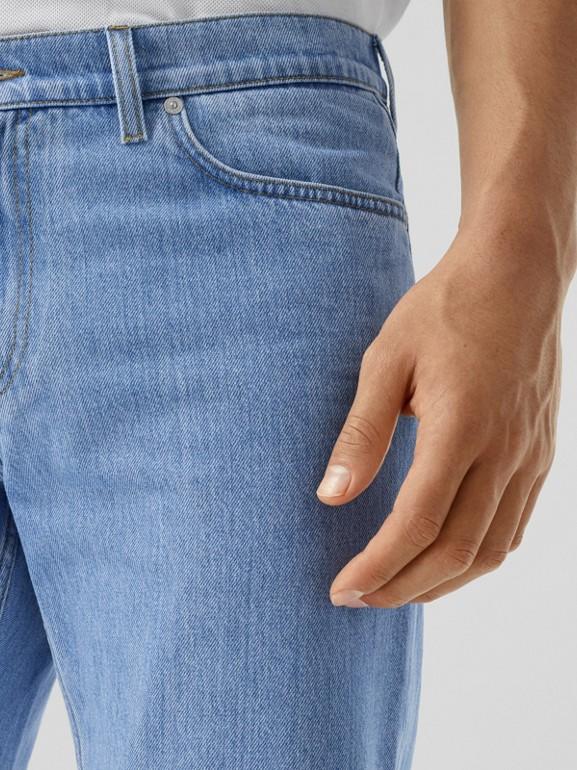 Straight Fit Japanese Denim Jeans in Light Indigo Blue - Men   Burberry - cell image 1
