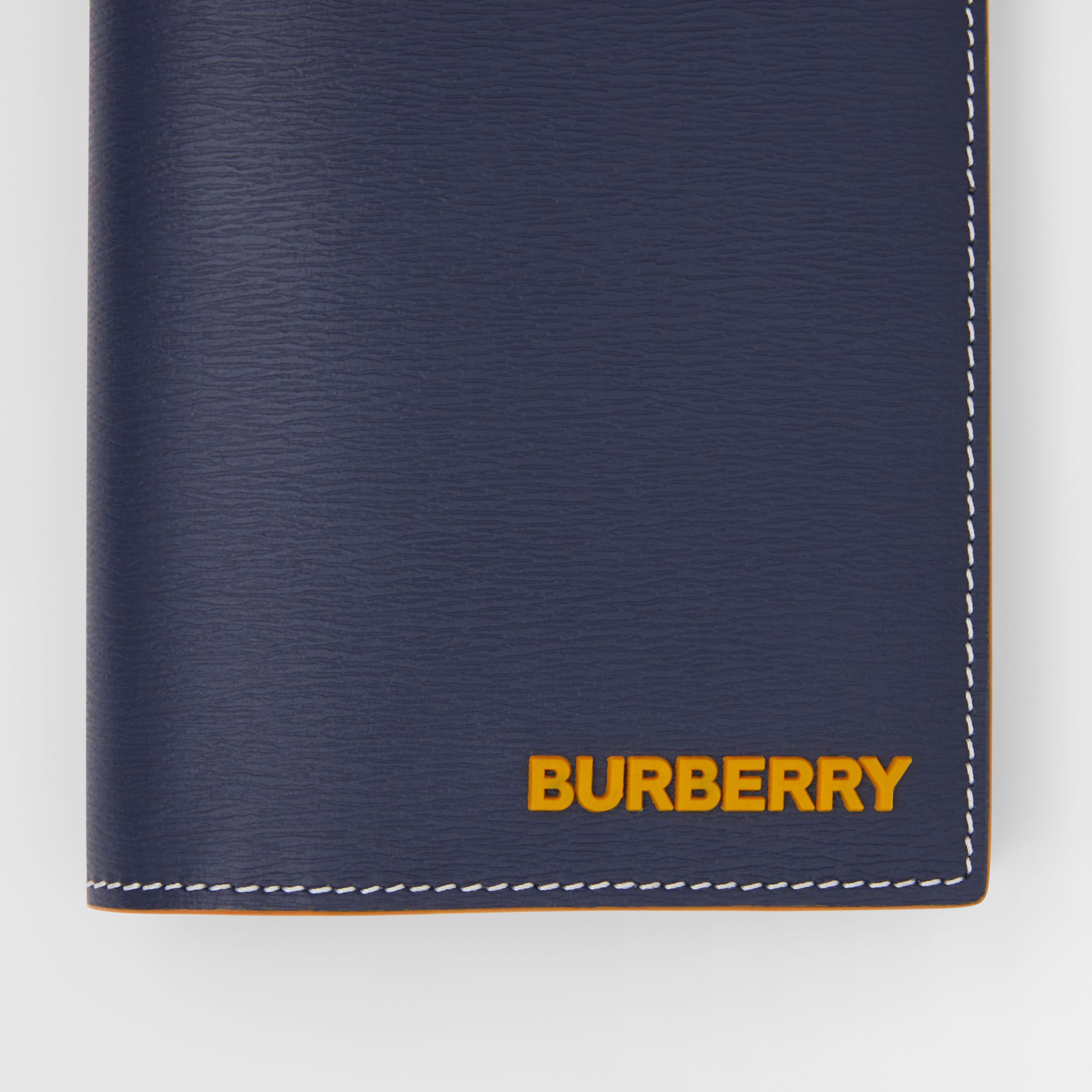 Topstitched Grainy Leather Continental Wallet in Navy - Men | Burberry - 2