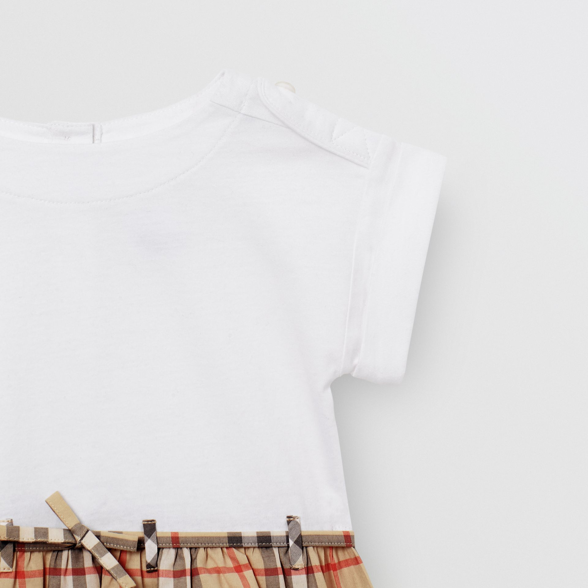 Vintage Check Detail Cotton Dress in White - Children | Burberry - gallery image 4