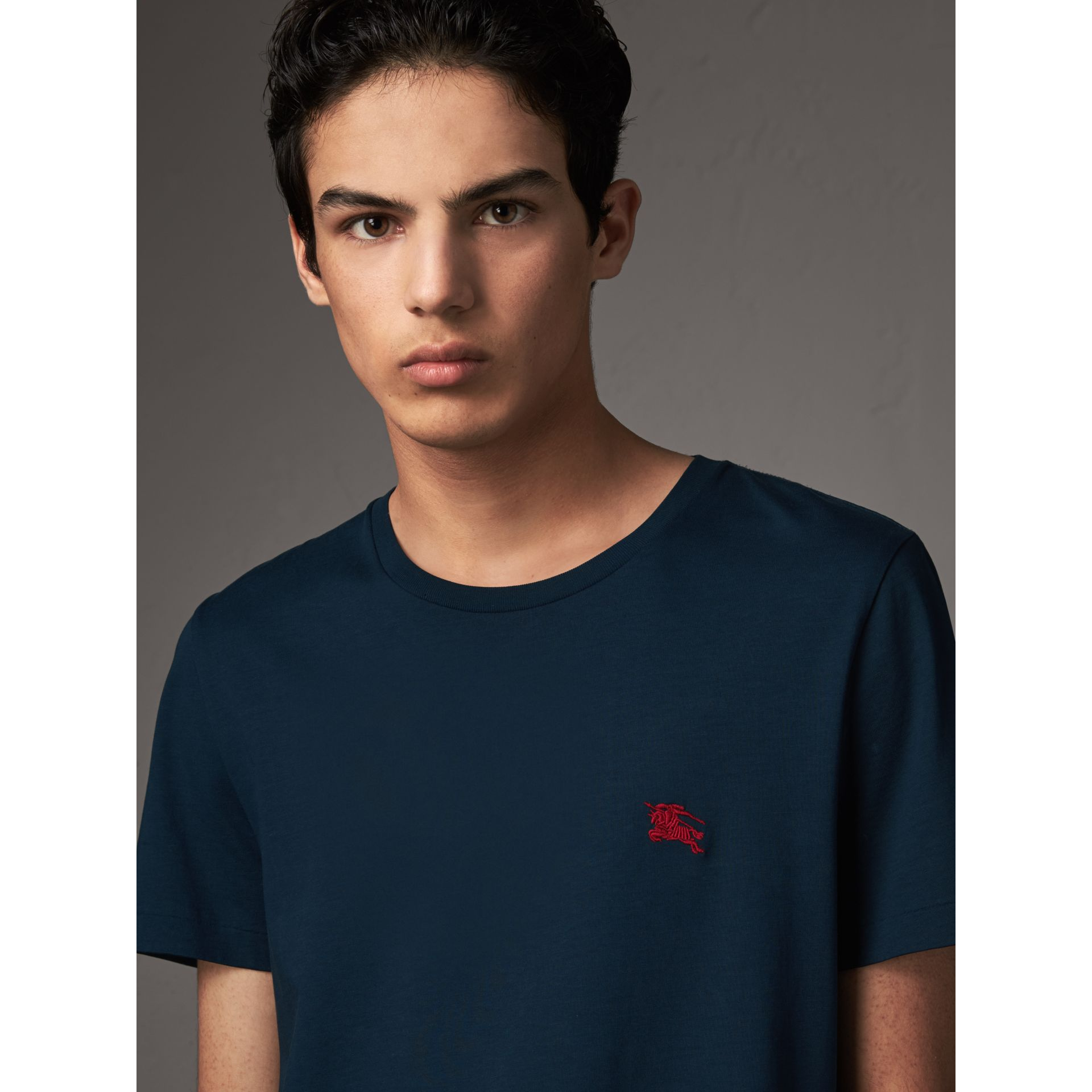 Cotton Jersey T-shirt in Navy - Men | Burberry United Kingdom - gallery image 1