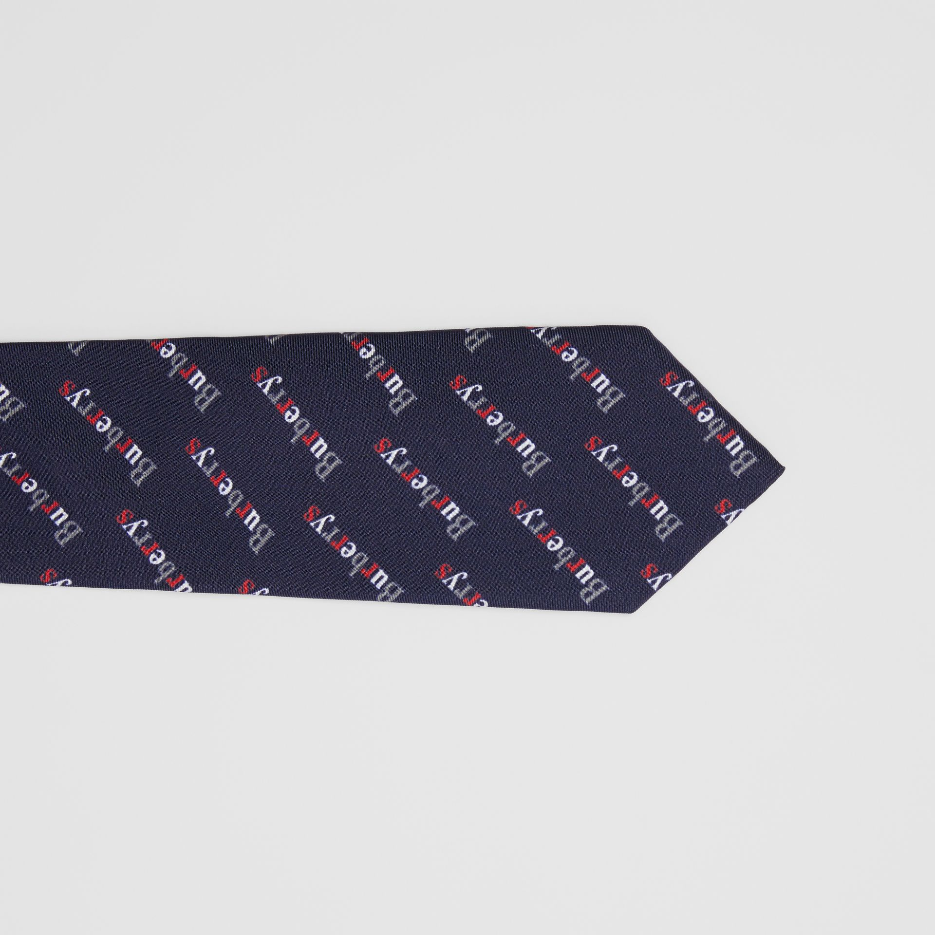 Modern Cut Archive Logo Print Silk Tie in Navy - Men | Burberry - gallery image 1