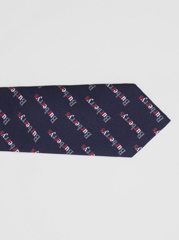 Modern Cut Archive Logo Print Silk Tie in Navy - Men | Burberry - cell image 1