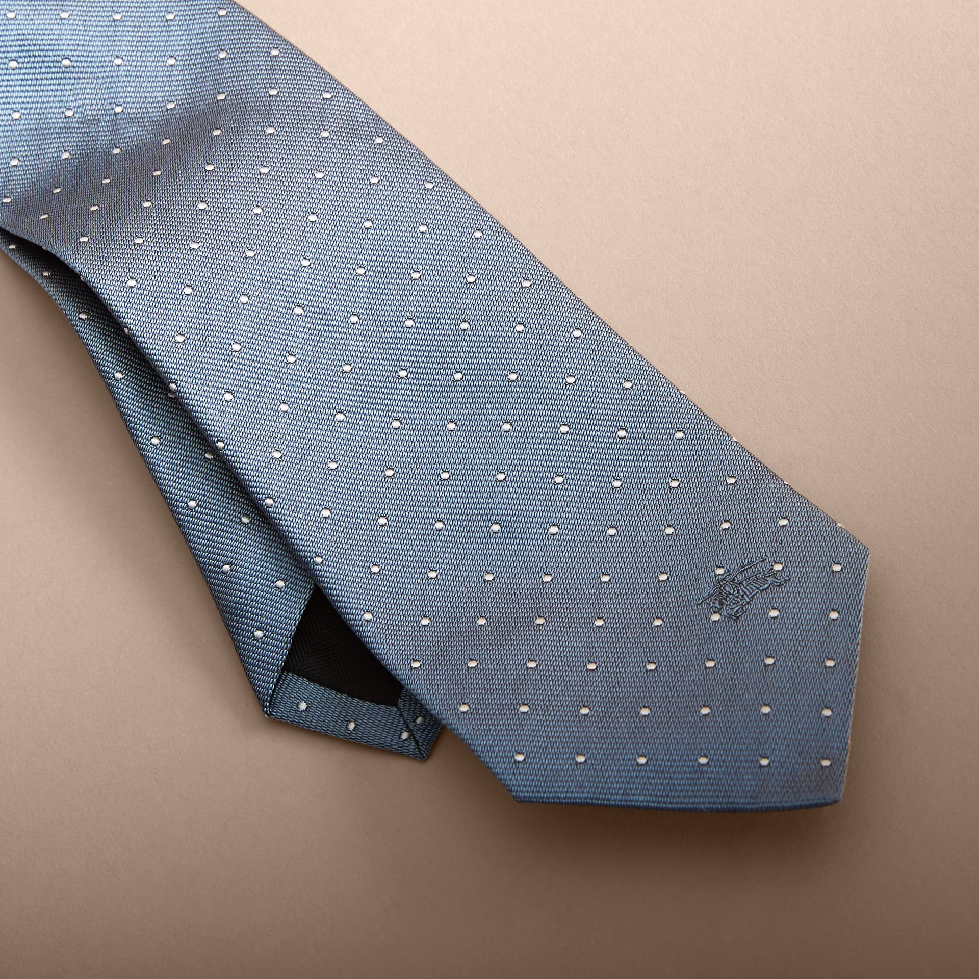 Modern Cut Polka Dot Silk Tie in Light Blue - gallery image 2