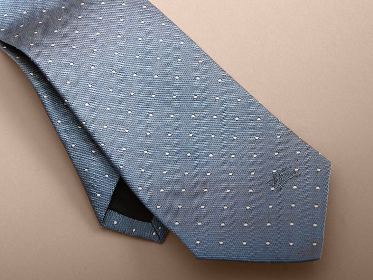 Modern Cut Polka Dot Silk Tie in Light Blue - cell image 1