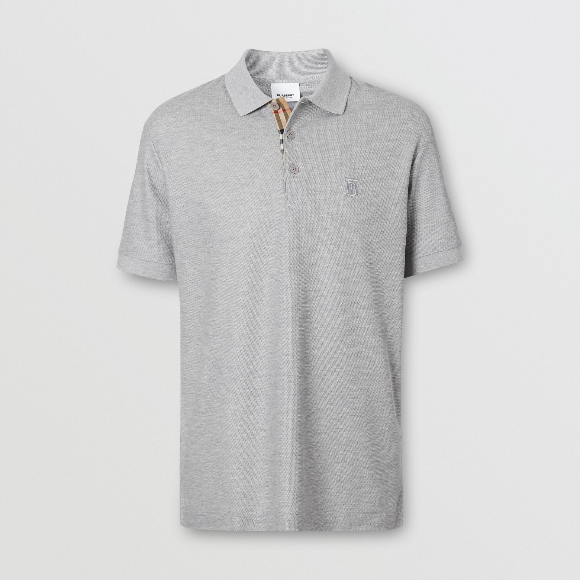 Monogram Motif Cotton Piqué Polo Shirt in Pale Grey Melange - Men | Burberry - gallery image 3