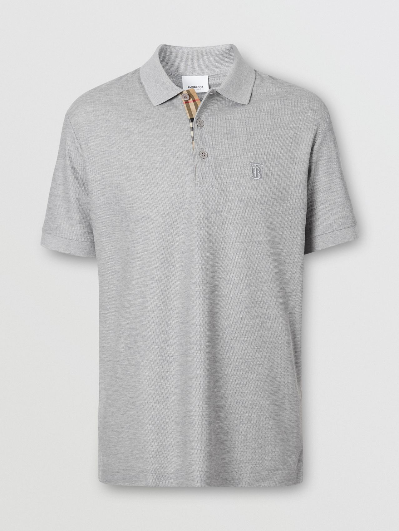 Monogram Motif Cotton Piqué Polo Shirt# in Pale Grey Melange