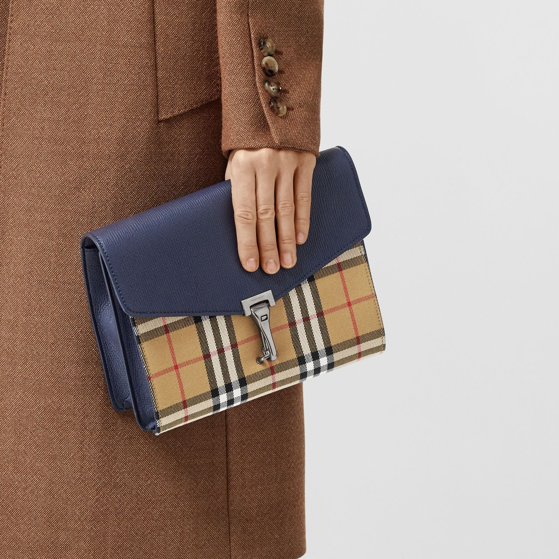 Small Vintage Check and Leather Crossbody Bag in Regency Blue - Women | Burberry - gallery image 8