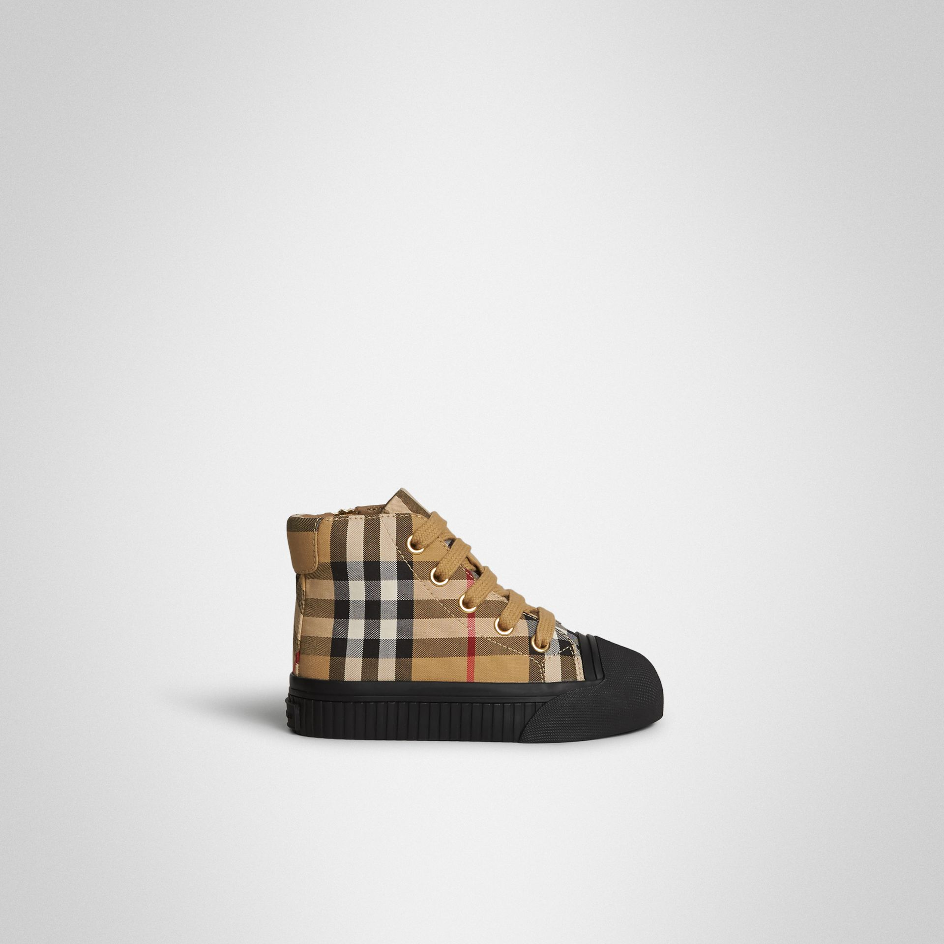 Vintage Check and Leather High-top Sneakers in Antique Yellow/black - Children | Burberry Singapore - gallery image 3