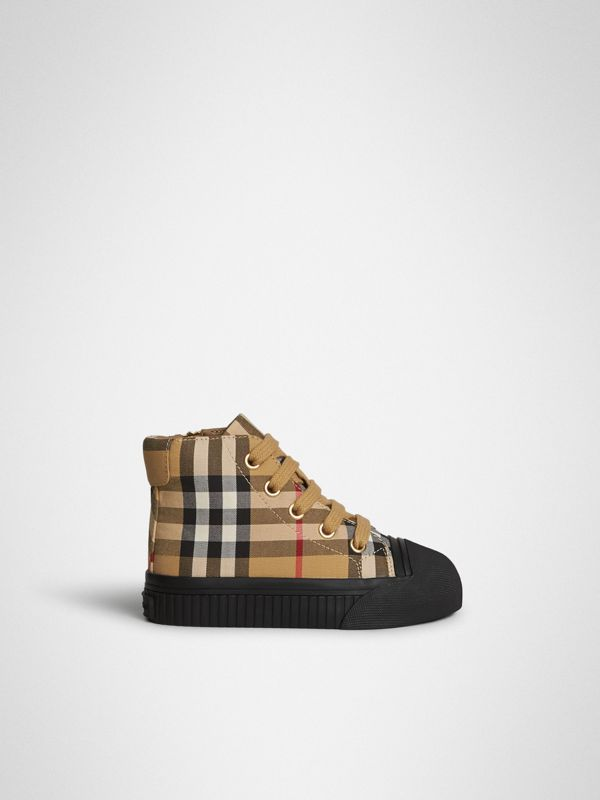 Vintage Check and Leather High-top Sneakers in Antique Yellow/black - Children | Burberry Australia - cell image 3