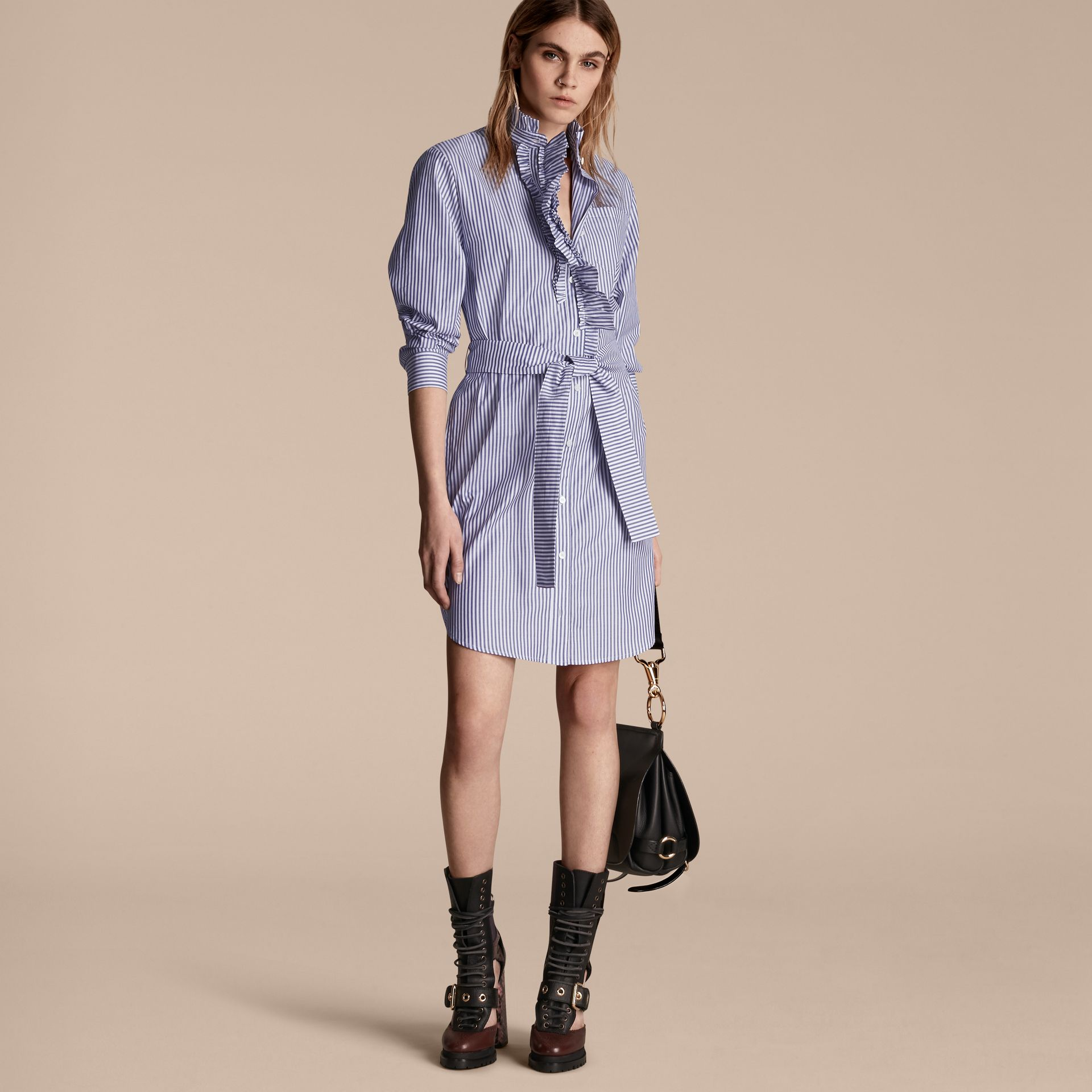 Navy Striped Cotton Shirt Dress with Ruffles - gallery image 6