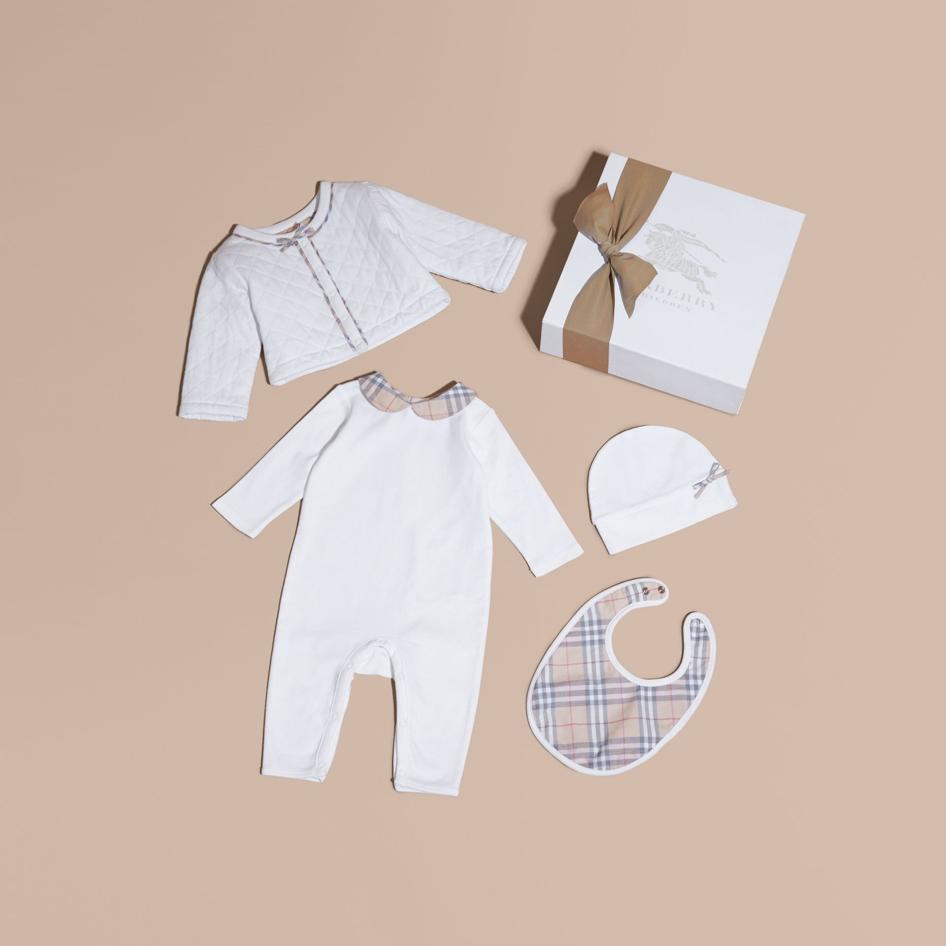 Check Detail Four-piece Baby Gift Set in White - Children | Burberry Canada - gallery image 1