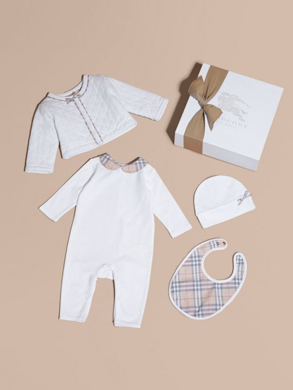 Check Detail Four-piece Baby Gift Set - Children | Burberry