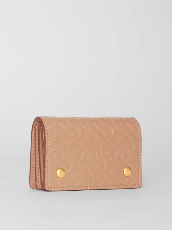 Monogram Leather Card Case in Light Camel - Women | Burberry - cell image 3